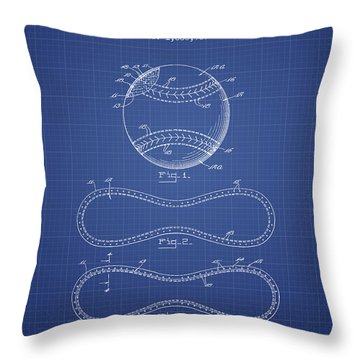 Baseball Patent From 1928 - Blueprint Throw Pillow by Aged Pixel
