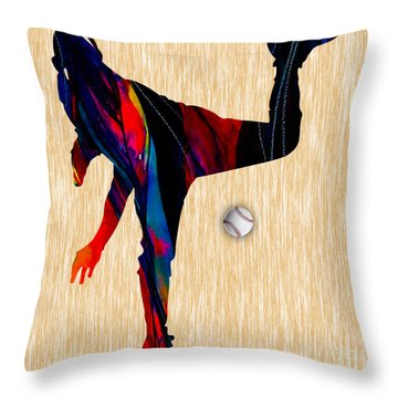 Baseball Pitcher Throw Pillow by Marvin Blaine