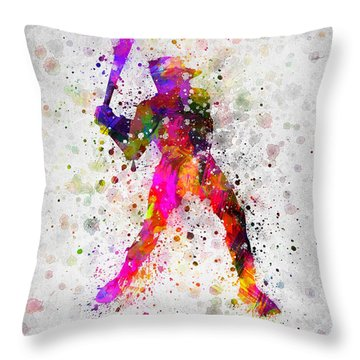 Baseball Player - Holding Baseball Bat Throw Pillow by Aged Pixel