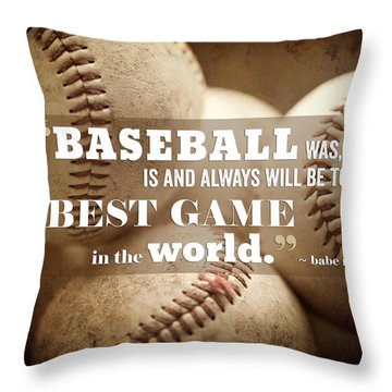 Baseball Print With Babe Ruth Quotation Throw Pillow by Lisa Russo