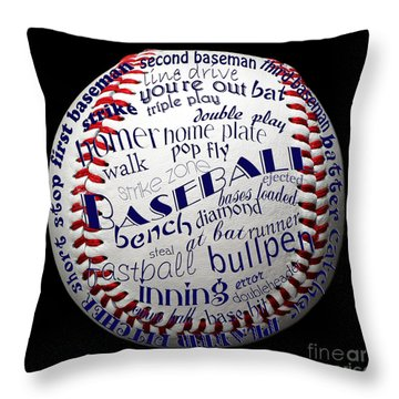 Baseball Terms Typography 1 Throw Pillow by Andee Design