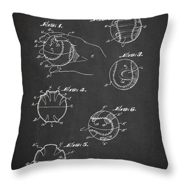 Baseball Training Device Patent Drawing From 1961 Throw Pillow by Aged Pixel
