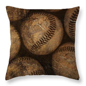 Baseballs Throw Pillow by Diane Diederich