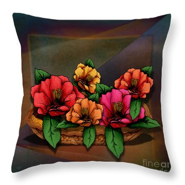 Basket Of Hibiscus Flowers Throw Pillow by Bedros Awak