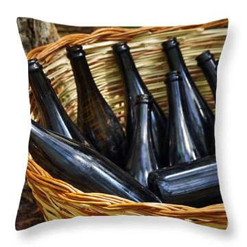 Basket With Bottles Throw Pillow by Carlos Caetano