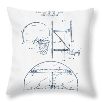 Basketball Goal Patent From 1944 - Blue Ink Throw Pillow by Aged Pixel