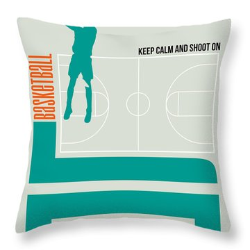 Basketball Poster Throw Pillow by Naxart Studio