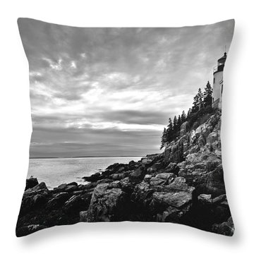 Bass Harbor Lighthouse At Dusk Throw Pillow by Diane Diederich