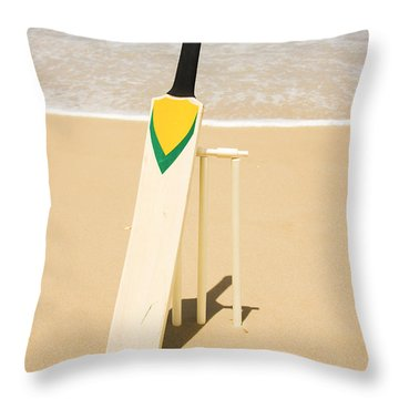 Bat Ball And Stumps Throw Pillow by Jorgo Photography - Wall Art Gallery