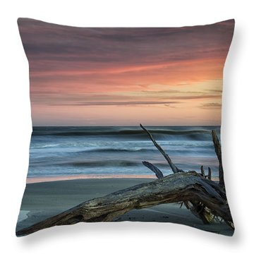 Battered Driftwood Throw Pillow by Phill Doherty