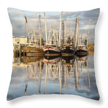 Bayou Labatre' Shrimp Boat Reflections 22 Throw Pillow by Jay Blackburn