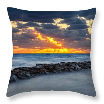 Bayside Sunset Throw Pillow by Bill Wakeley