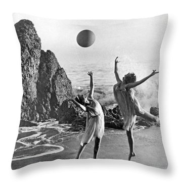 Beach Ball Dancing Throw Pillow by Underwood Archives