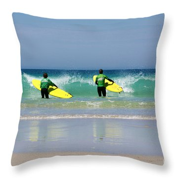 Beach Boys Go Surfing Throw Pillow by Terri Waters