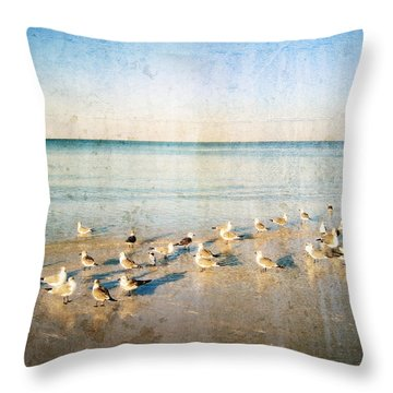Beach Combers - Seagull Art By Sharon Cummings Throw Pillow by Sharon Cummings