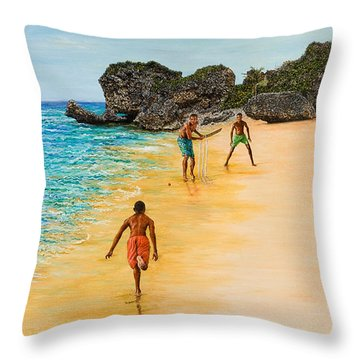 Beach Cricket Throw Pillow by Victor Collector
