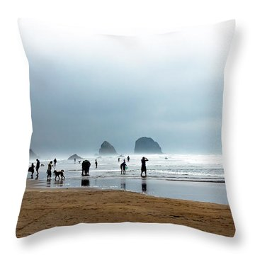 Beach Fun At Ecola  Throw Pillow by Robert Bales