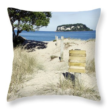 Beach Sign Throw Pillow by Les Cunliffe