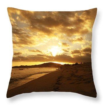 Beach Sunset Throw Pillow by Cheryl Young