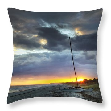 Beached For The Night Throw Pillow by Phill Doherty