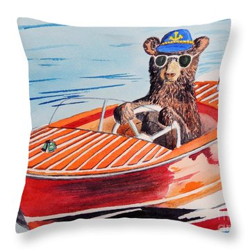 Bearboat Throw Pillow by LeAnne Sowa