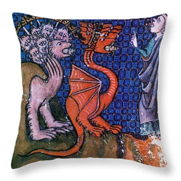 Beasts Vomiting Frogs, Apocalypse Throw Pillow by Photo Researchers