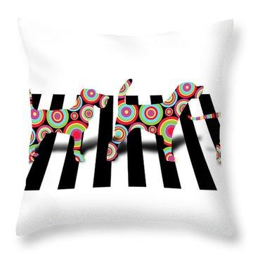 Beatles Dogs Throw Pillow by Mark Ashkenazi