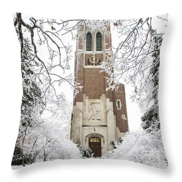 Beaumont Tower Ice Storm  Throw Pillow by John McGraw