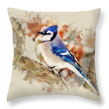 Beautiful Blue Jay - Watercolor Art Throw Pillow by Christina Rollo