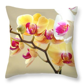 Beautiful Orchids Floral Art Prints Orchid Flowers Throw Pillow by Baslee Troutman