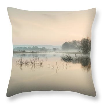 Beautiful Tranquil Mist Over Lake Sunrise Landscape Throw Pillow by Matthew Gibson