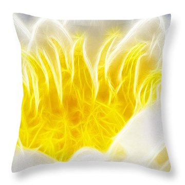 Beautiful White And Yellow Flower - Digital Artwork Throw Pillow by Matthias Hauser