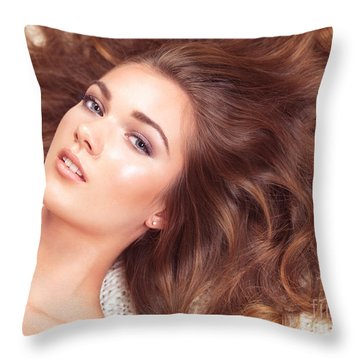Beautiful Woman With Long Hair Spread Around Her Throw Pillow by Oleksiy Maksymenko