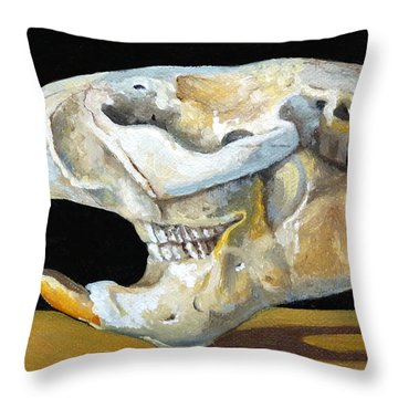 Beaver Skull 1 Throw Pillow by Catherine Twomey