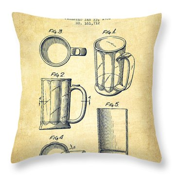 Beer Mug Patent Drawing From 1951 - Vintage Throw Pillow by Aged Pixel
