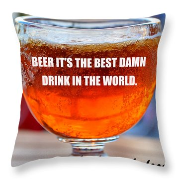 Beer Quote By Jack Nicholson Throw Pillow by David Lee Thompson