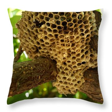Bees In The Peach Tree Throw Pillow by Kerri Mortenson
