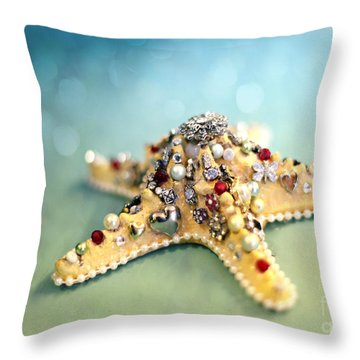 Bejeweled Starfish Throw Pillow by Sylvia Cook