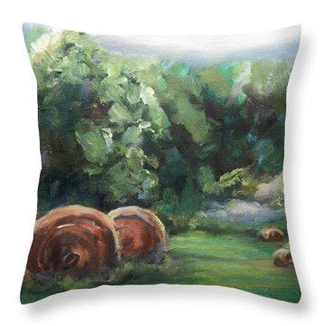 Beliveau Hay Rolls Throw Pillow by Donna Tuten