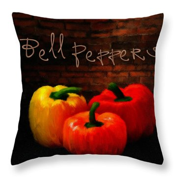 Bell Peppers II Throw Pillow by Lourry Legarde