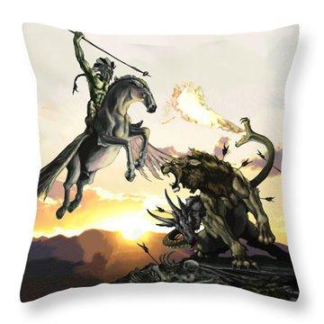 Bellephron Slays Chimera Throw Pillow by Matt Kedzierski
