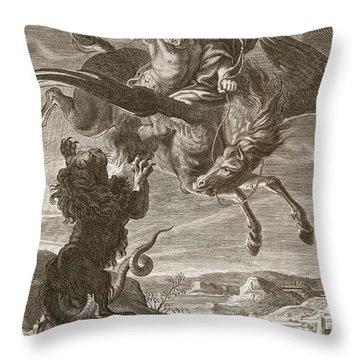 Bellerophon Fights The Chimaera, 1731 Throw Pillow by Bernard Picart