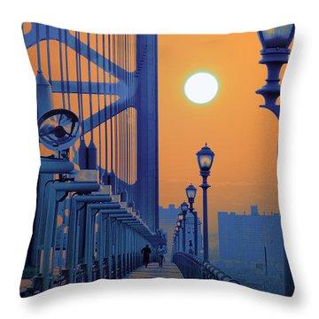 Ben Franklin Bridge Walkway Throw Pillow by Bill Cannon