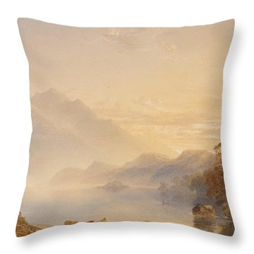 Ben Venue And The Trossachs Seen From Loch Achray Throw Pillow by Anthony Vandyke Copley Fielding