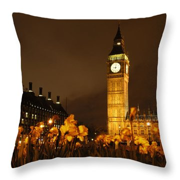 Ben With Flowers Throw Pillow by Mike McGlothlen