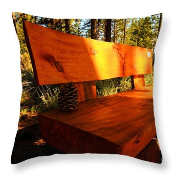Bench In The Woods Throw Pillow by Cheryl Young