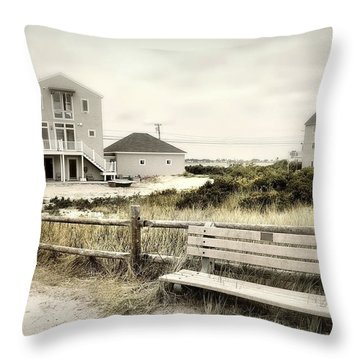 Bench'n Bike Throw Pillow by Diana Angstadt