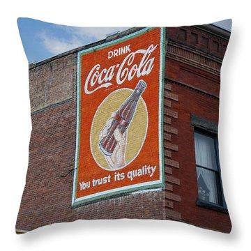 Bend Oregon Coke Sign Throw Pillow by Gary Grayson