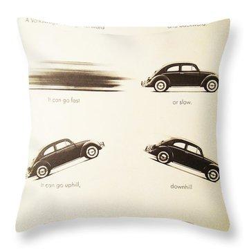 Benefits Of A Volkwagen Throw Pillow by Georgia Fowler