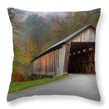 Bennett Mill Covered Bridge Throw Pillow by Jack R Perry